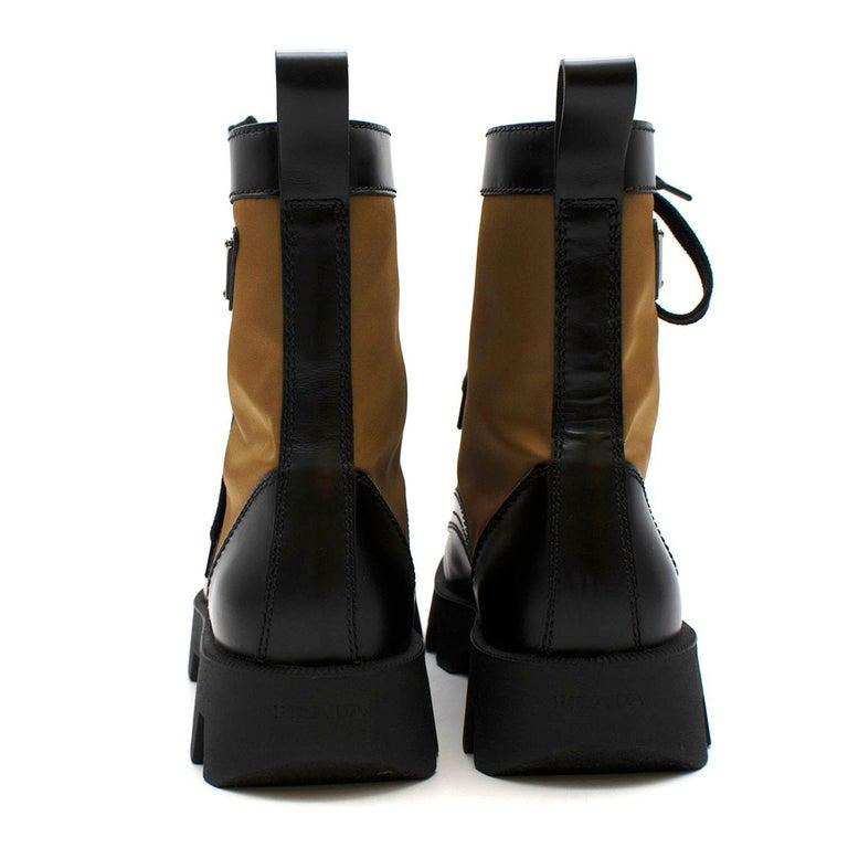 Men's Prada Black & Beige Leather & Nylon Logo Combat Boots - Size EU 41.5 For Sale