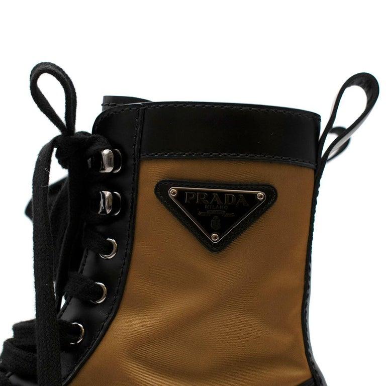 Prada Black & Beige Leather & Nylon Logo Combat Boots - Size EU 41.5 For Sale 2