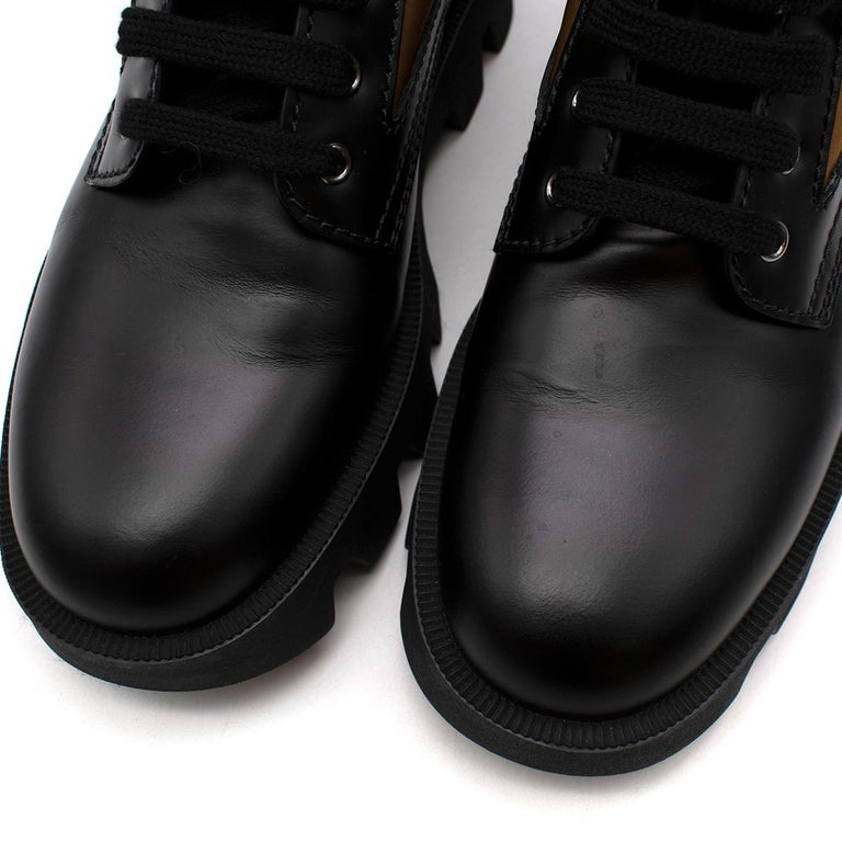Prada Black & Beige Leather & Nylon Logo Combat Boots - Size EU 41.5 For Sale 3