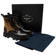 Prada Black & Beige Leather & Nylon Logo Combat Boots - Size EU 41.5