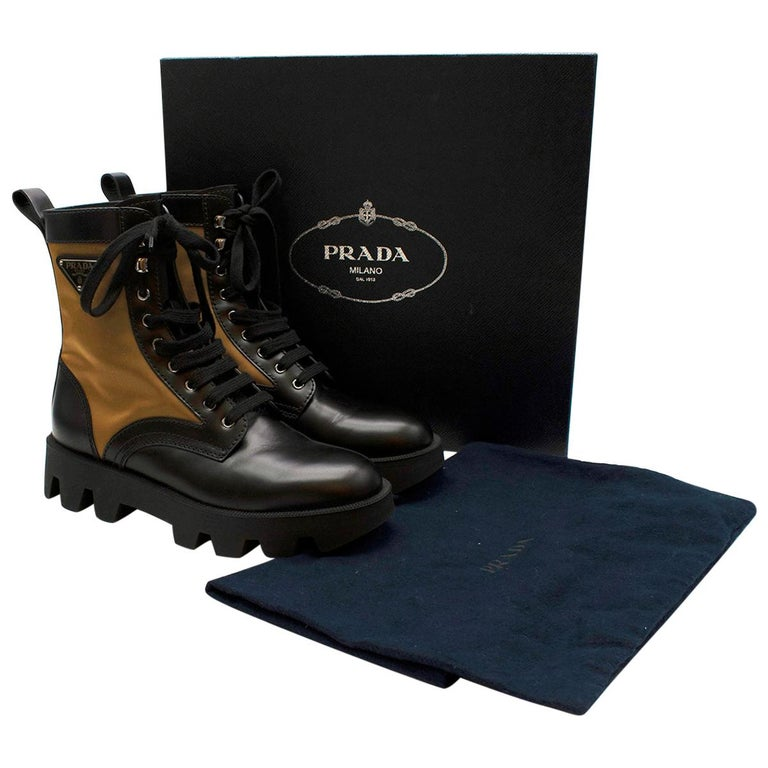 Prada Black & Beige Leather & Nylon Logo Combat Boots - Size EU 41.5 For Sale