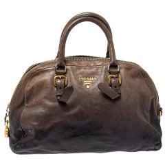 Prada Black/Beige Ombre Leather Dome Satchel