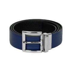 Prada Black/Blue Saffiano Leather Silvertone Reversible Leather Belt sz 95/38""
