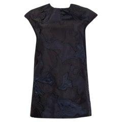 PRADA black & blue silk PATCHWORK Cap Sleeve Blouse Shirt 42 M