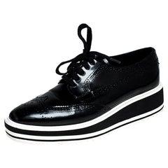 Prada Black Brogue Leather Wingtip Platform Sneakers Size 37.5