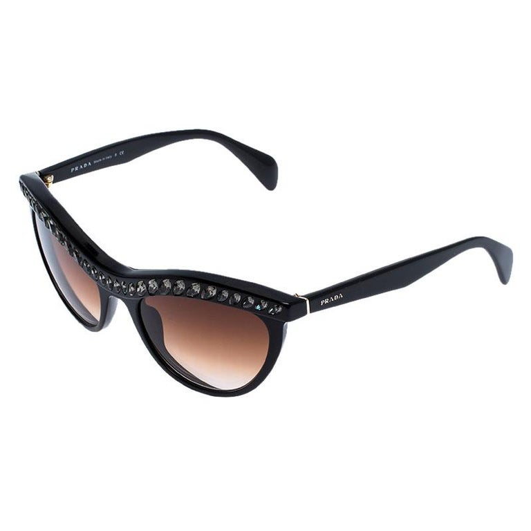 Prada Black/Brown Gradient SPR 04P Crystal Embellished Cateye Sunglasses In Good Condition For Sale In Dubai, Al Qouz 2