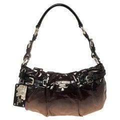 Prada Black/Brown Ombre Patent Leather Baguette