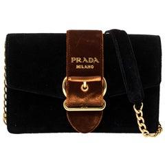 Prada Black/Brown Velvet Buckle Flap Crossbody Bag