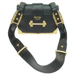Prada Black Cahier Shoulder Bag W/ Gold Hardware