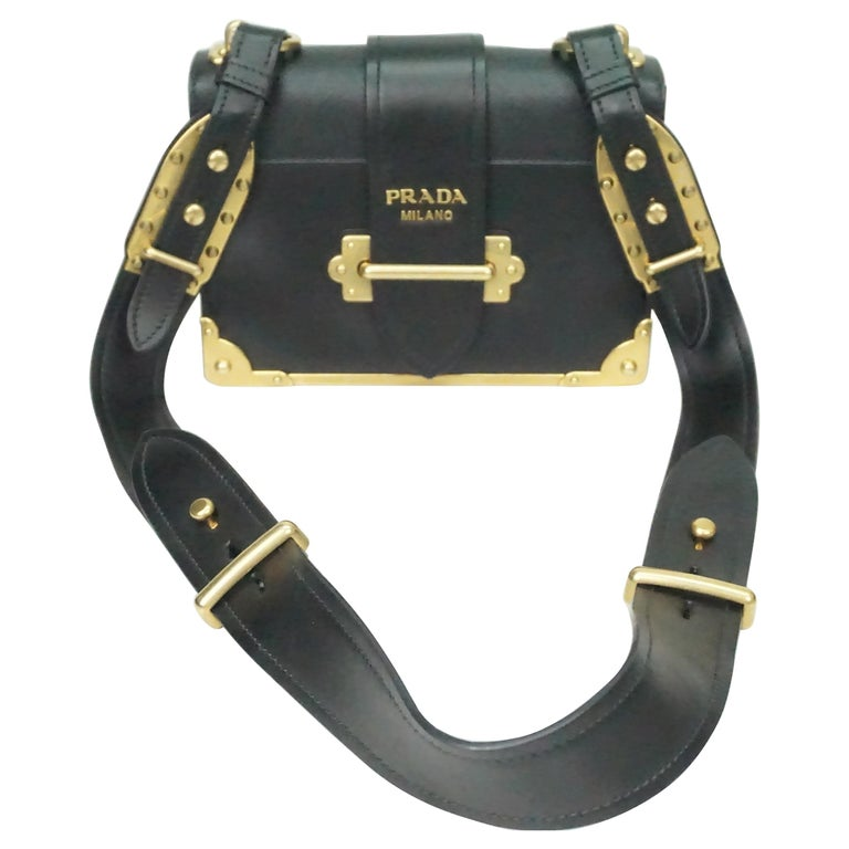 9c1a8aaf6ae4 Prada Black Cahier Shoulder Bag W/ Gold Hardware For Sale at 1stdibs