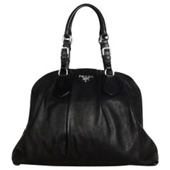 Prada Black Calfskin Leather Large Buckle Pleated Bowler Bag
