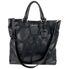 Prada Black Canvas and Leather 2 Way Tote Shoulder Bag BR4042