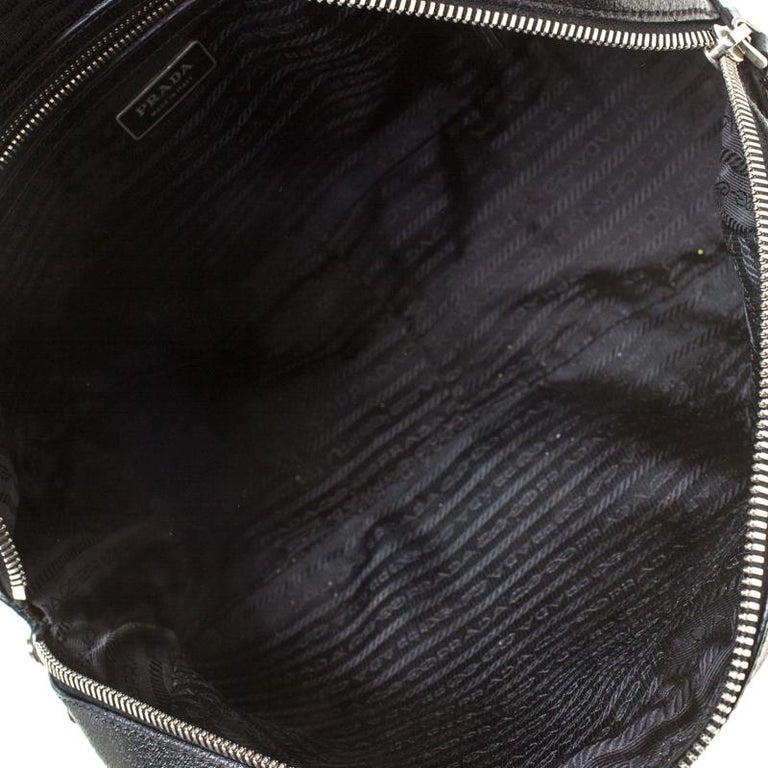 Prada Black Canvas and Leather Trim Bowler Bag For Sale 6