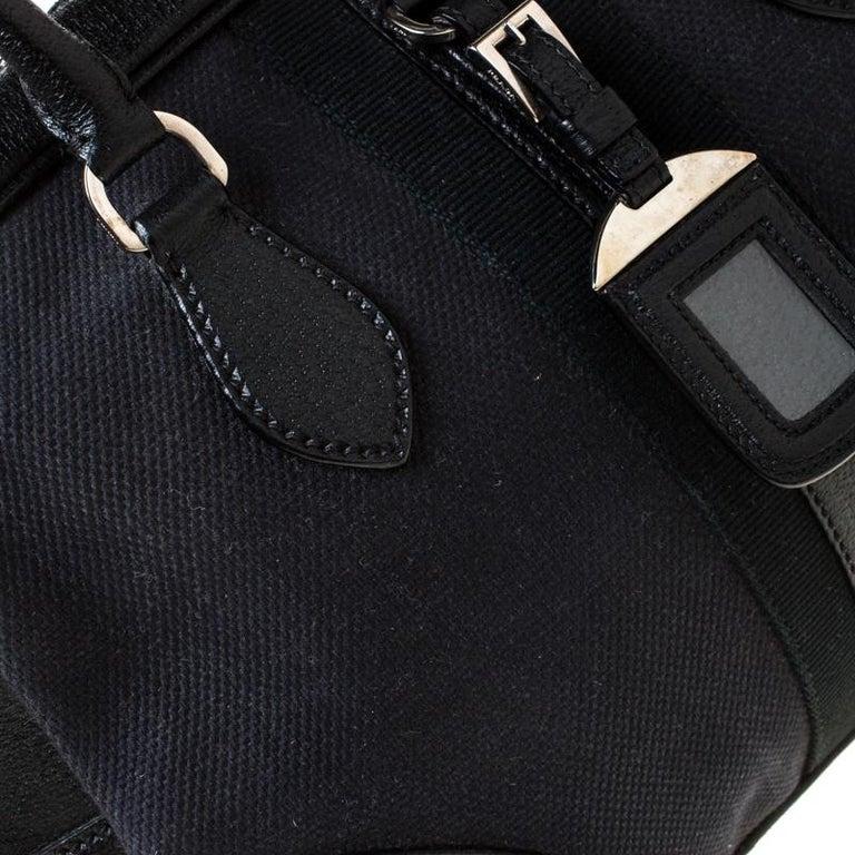 Prada Black Canvas and Leather Trim Bowler Bag For Sale 7