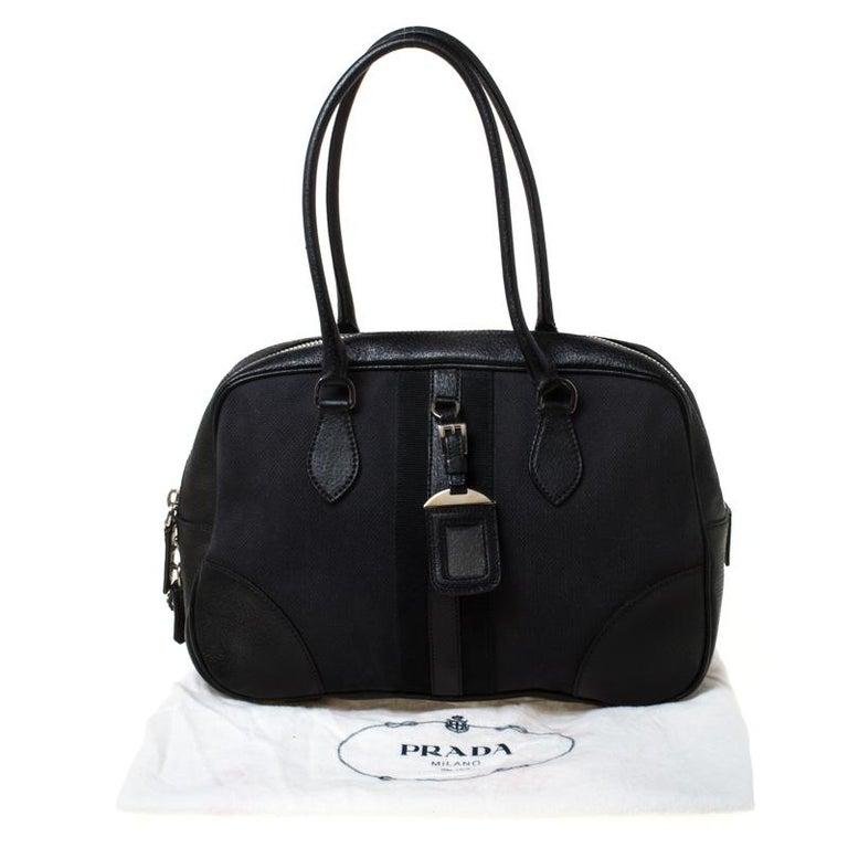 Prada Black Canvas and Leather Trim Bowler Bag For Sale 8