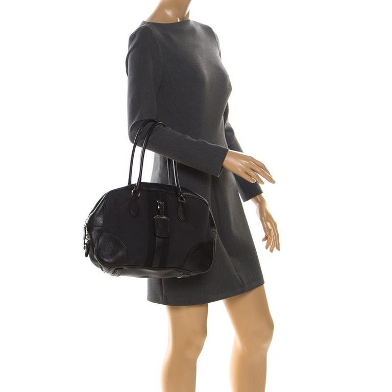 Prada Black Canvas and Leather Trim Bowler Bag In Fair Condition For Sale In Dubai, Al Qouz 2