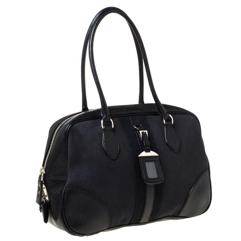 Women's Prada Black Canvas and Leather Trim Bowler Bag For Sale