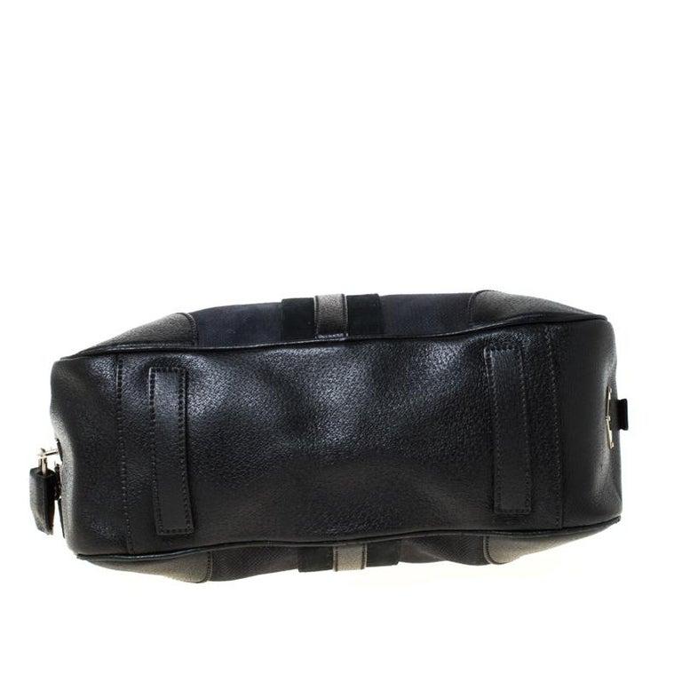 Prada Black Canvas and Leather Trim Bowler Bag For Sale 1