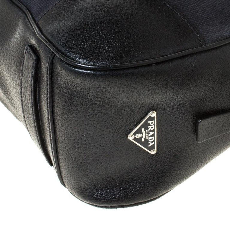 Prada Black Canvas and Leather Trim Bowler Bag For Sale 2