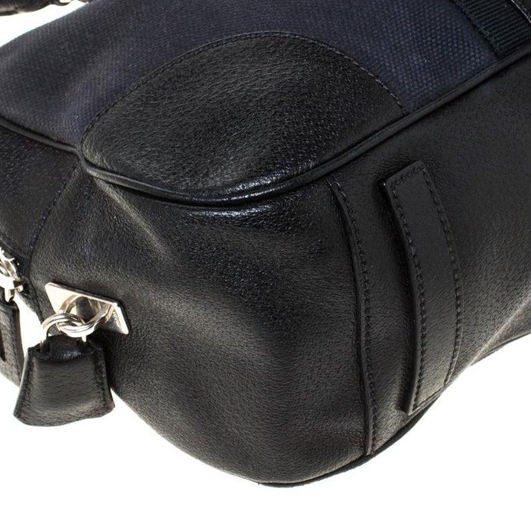 Prada Black Canvas and Leather Trim Bowler Bag For Sale 3