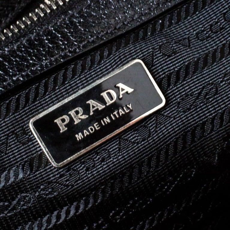 Prada Black Canvas and Leather Trim Bowler Bag For Sale 5