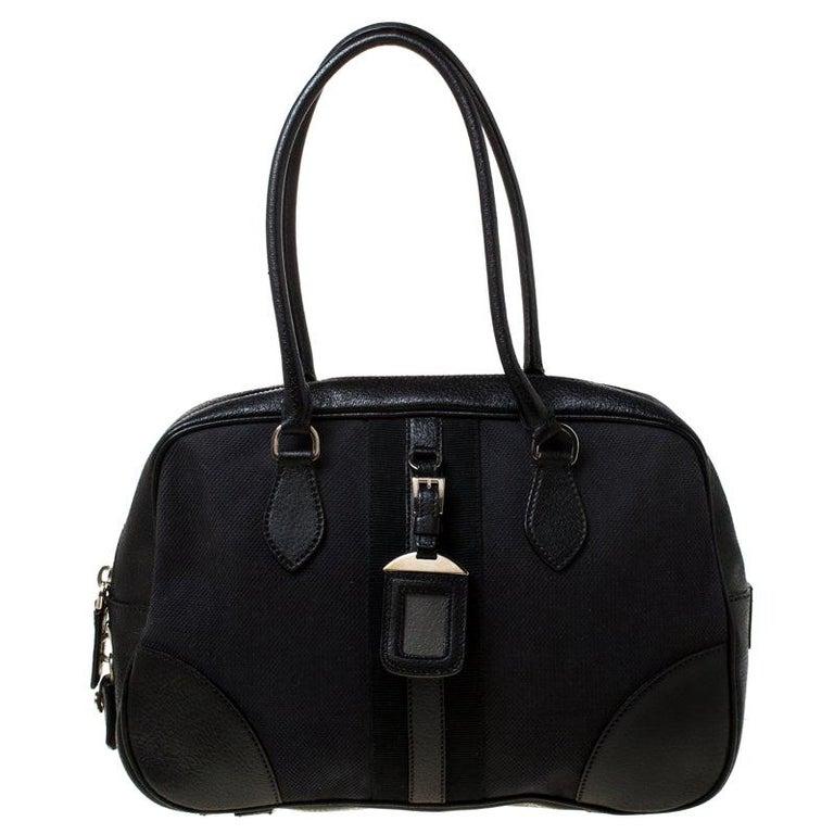 Prada Black Canvas and Leather Trim Bowler Bag For Sale