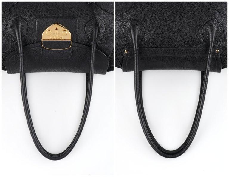 PRADA Black Cervo Leather Dual Drawstring Sound Lock Satchel Handbag  For Sale 6
