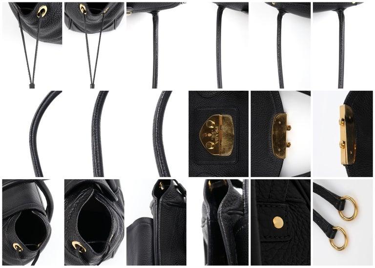 PRADA Black Cervo Leather Dual Drawstring Sound Lock Satchel Handbag  For Sale 8