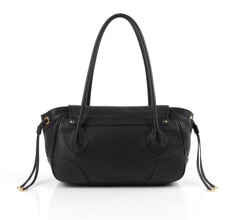 PRADA Black Cervo Leather Dual Drawstring Sound Lock Satchel Handbag    Estimated Retail: $950.00   Brand / Manufacturer: Prada Designer: Miuccia Prada Style: Satchel / handbag Color(s): Black (exterior, interior); gold (hardware) Lined: