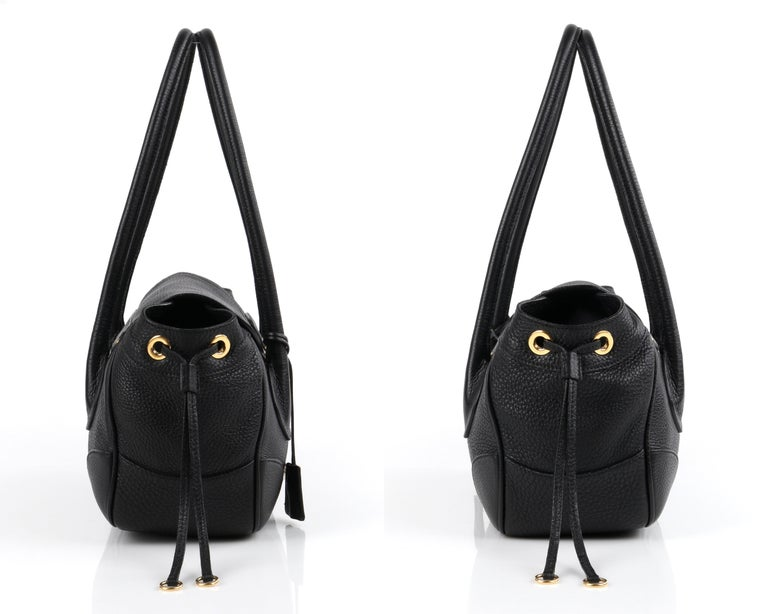 PRADA Black Cervo Leather Dual Drawstring Sound Lock Satchel Handbag  In Good Condition For Sale In Thiensville, WI