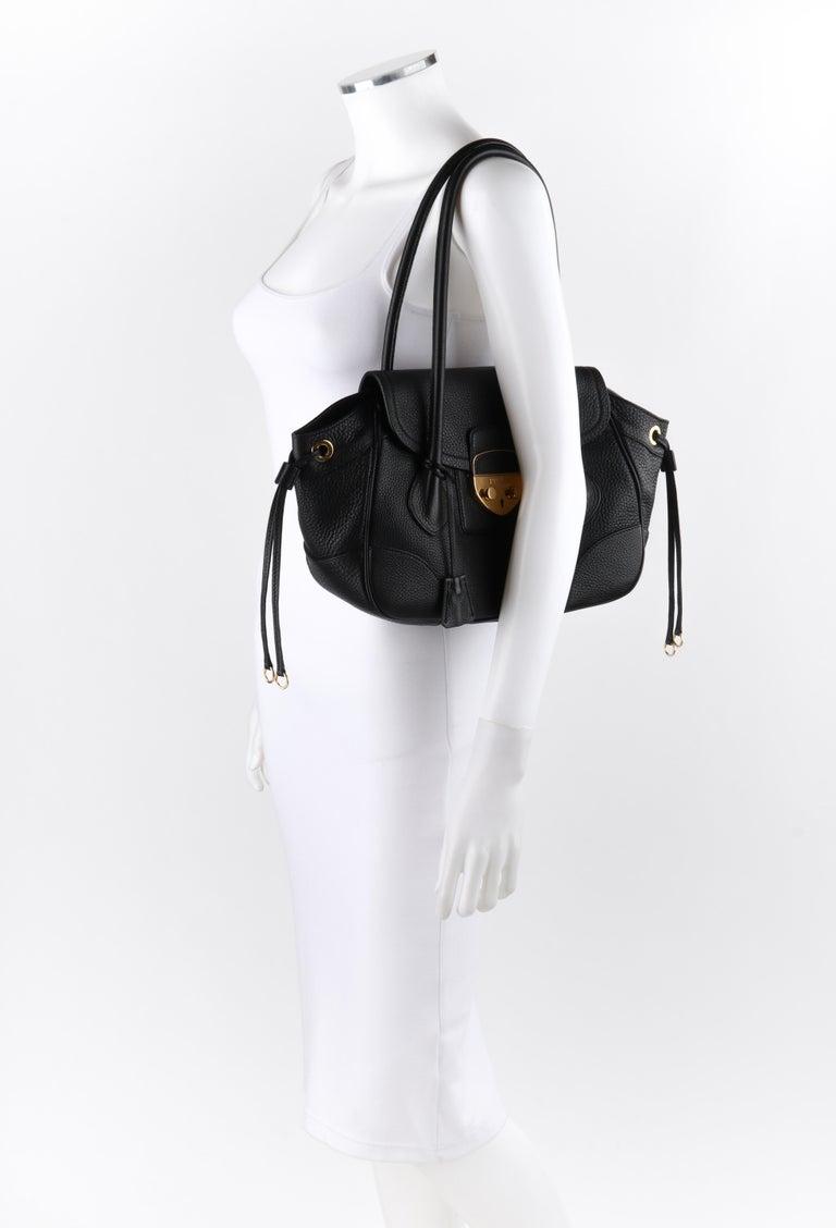 Women's PRADA Black Cervo Leather Dual Drawstring Sound Lock Satchel Handbag  For Sale