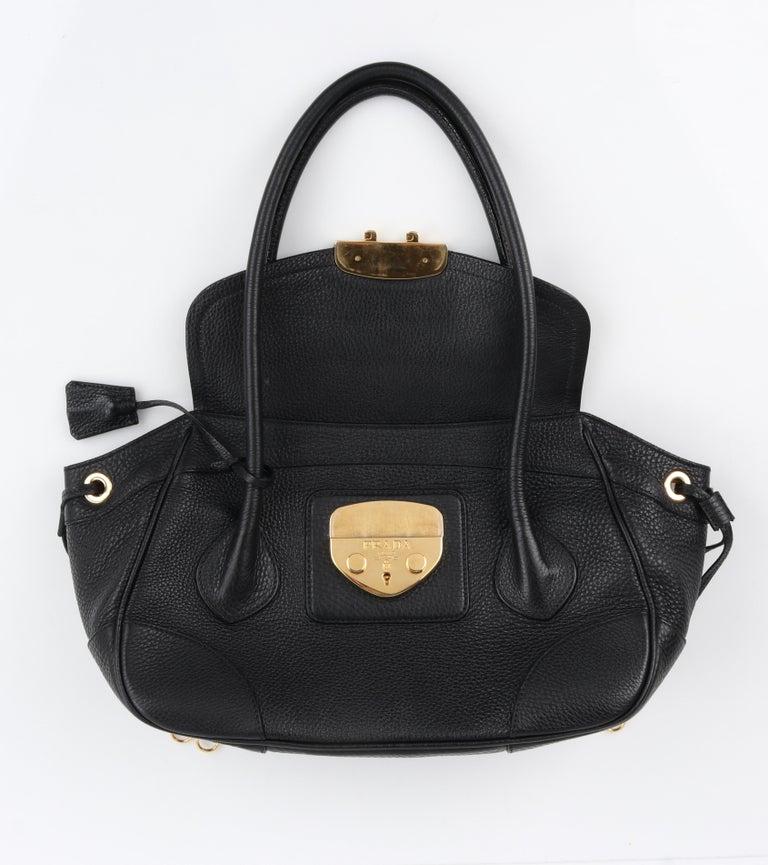 PRADA Black Cervo Leather Dual Drawstring Sound Lock Satchel Handbag  For Sale 1