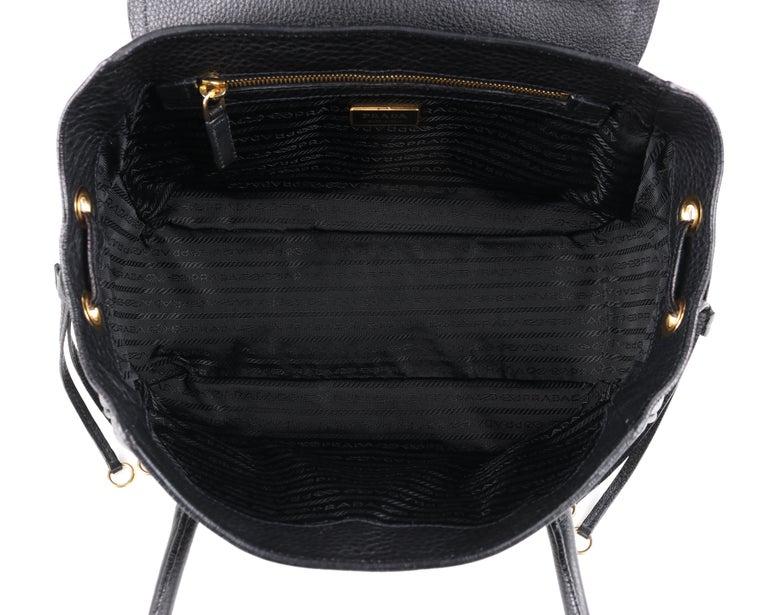 PRADA Black Cervo Leather Dual Drawstring Sound Lock Satchel Handbag  For Sale 2