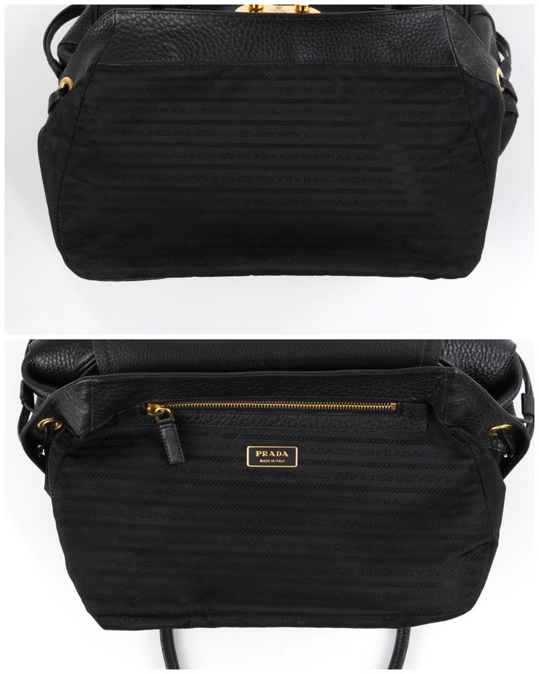 PRADA Black Cervo Leather Dual Drawstring Sound Lock Satchel Handbag  For Sale 3