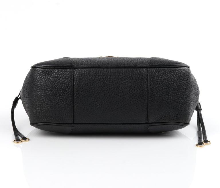 PRADA Black Cervo Leather Dual Drawstring Sound Lock Satchel Handbag  For Sale 5