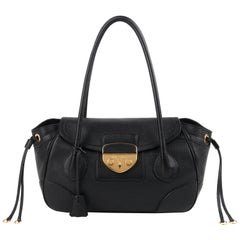 PRADA Black Cervo Leather Dual Drawstring Sound Lock Satchel Handbag
