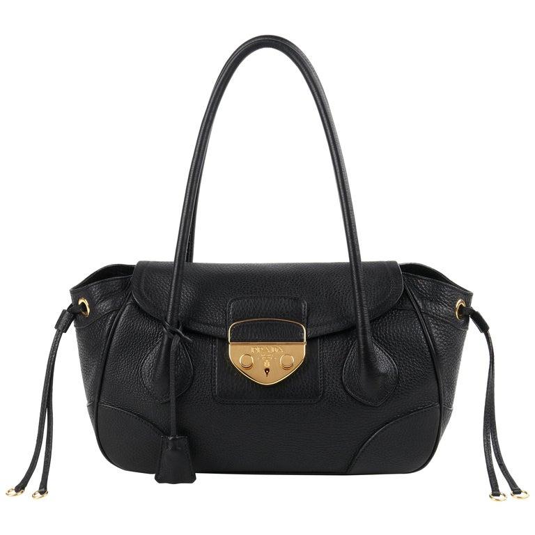PRADA Black Cervo Leather Dual Drawstring Sound Lock Satchel Handbag  For Sale