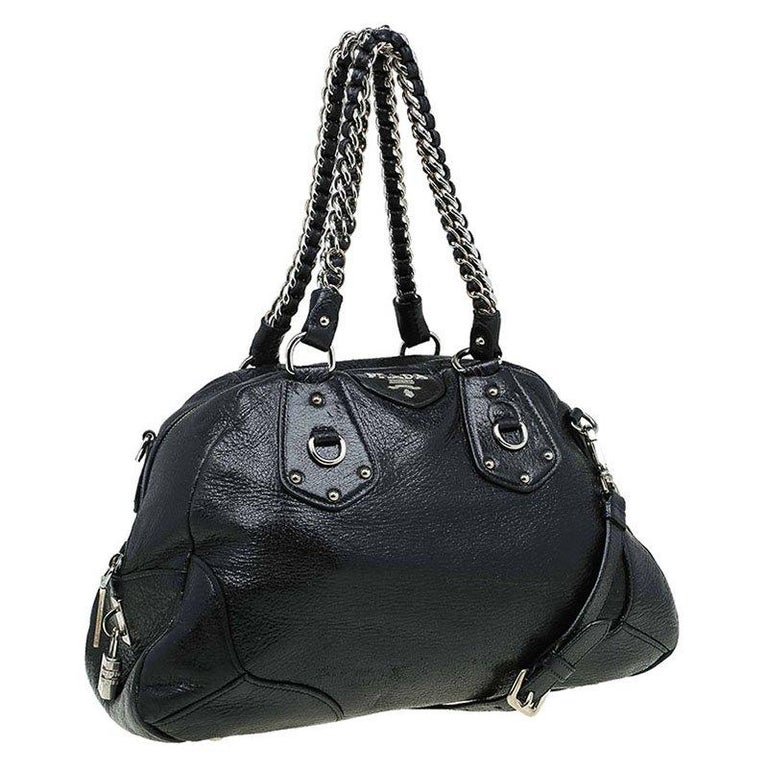 Women's Prada Black Cervo Lux Leather Chain Bowling Bag For Sale