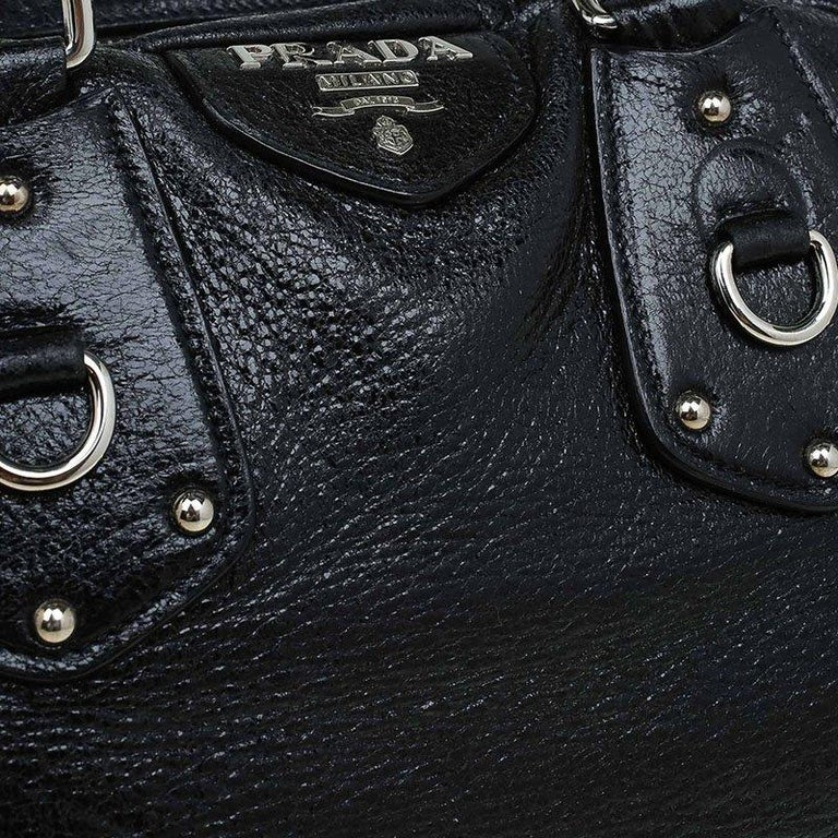 Prada Black Cervo Lux Leather Chain Bowling Bag For Sale 2