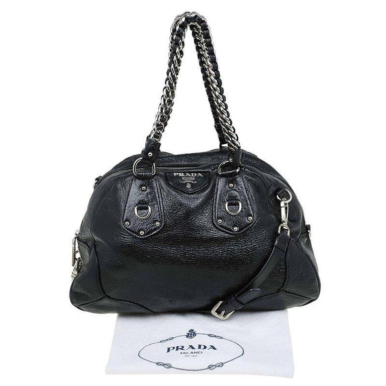 Prada Black Cervo Lux Leather Chain Bowling Bag For Sale 5
