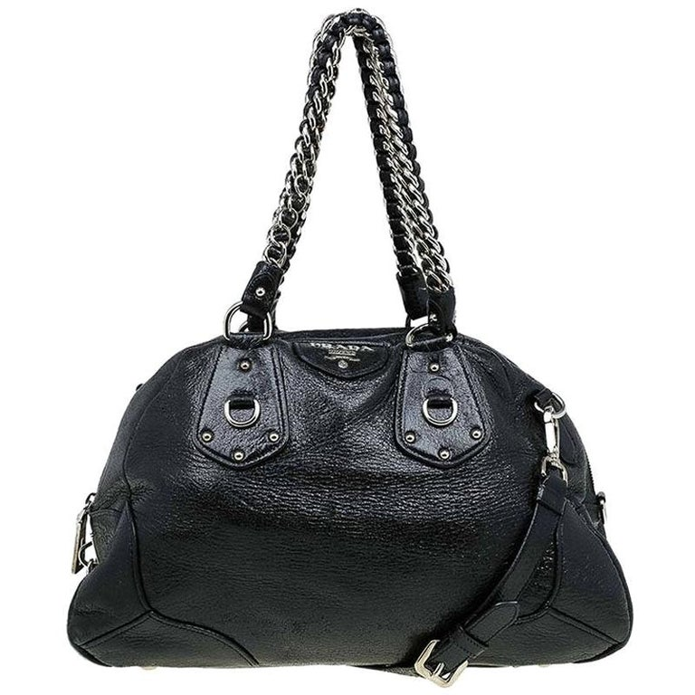Prada Black Cervo Lux Leather Chain Bowling Bag For Sale