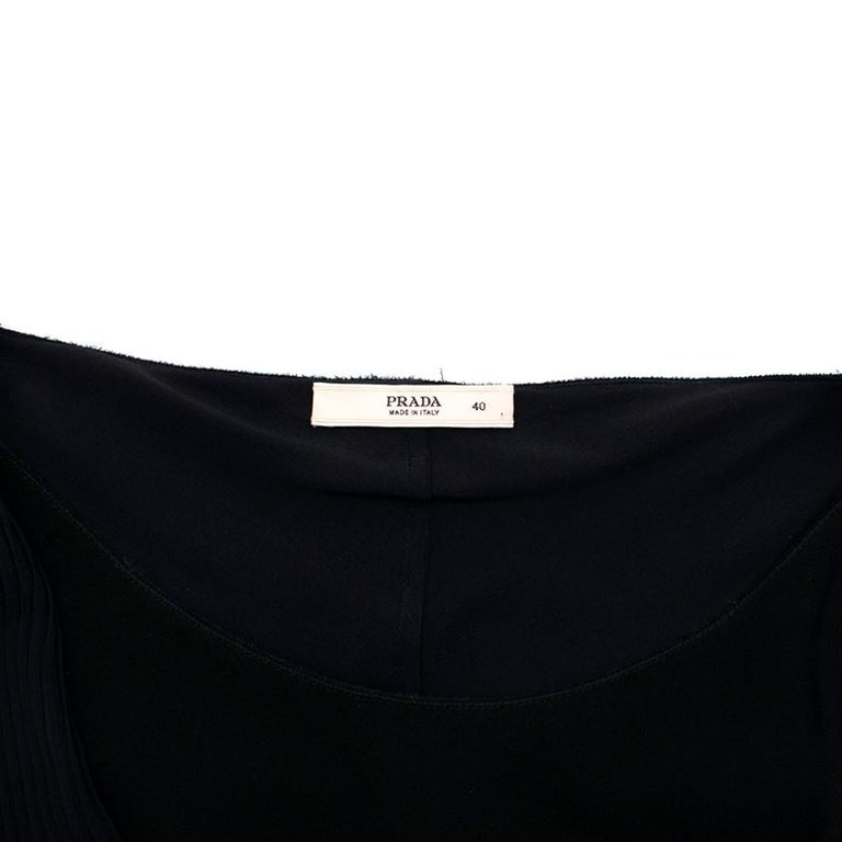 Women's Prada Black Chiffon Detail Sleeveless Dress 40 XS For Sale