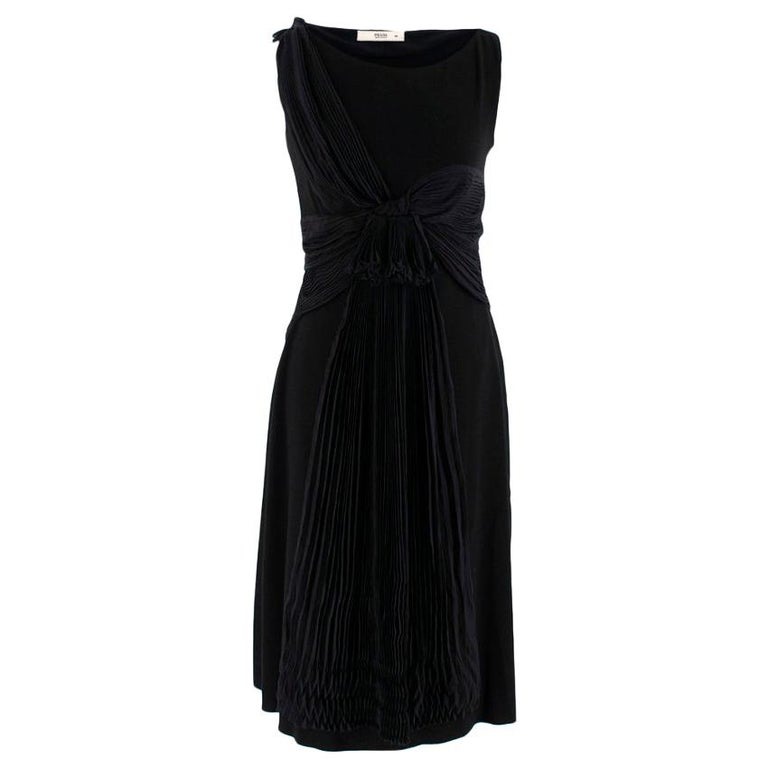 Prada Black Chiffon Detail Sleeveless Dress 40 XS For Sale