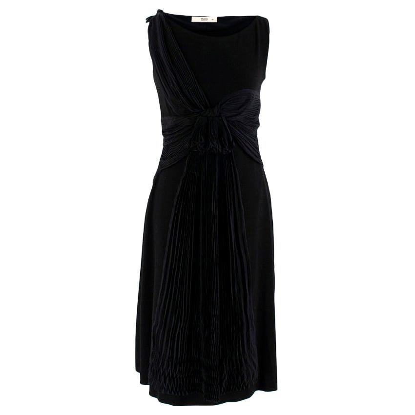Prada Black Chiffon Detail Sleeveless Dress - Size US 4