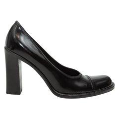 Prada Black Chunky Round-Toe Heels