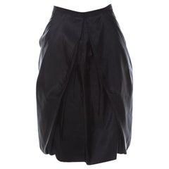 Prada Black Coated Silk Pleated Bubble Skirt M