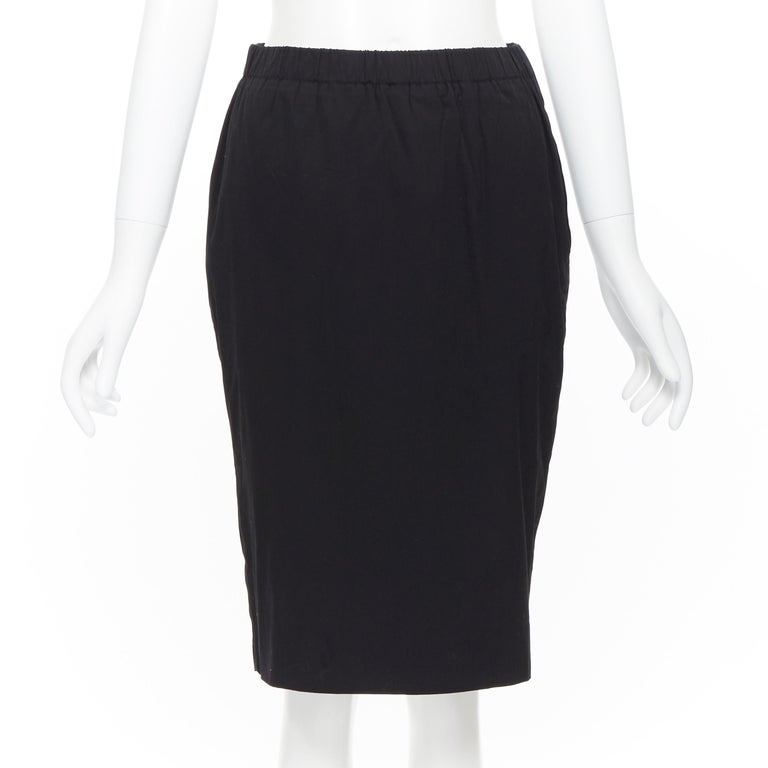 PRADA black cotton blend elasticated waist center vent casual skirt IT42 For Sale 1