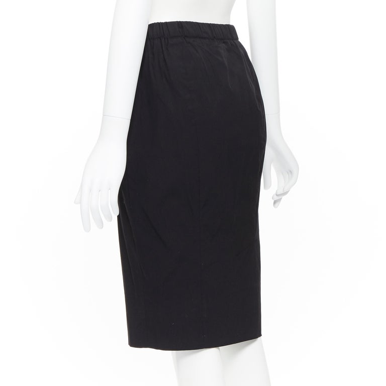 PRADA black cotton blend elasticated waist center vent casual skirt IT42 For Sale 2