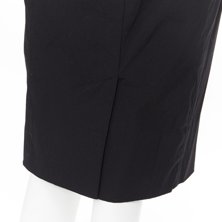 PRADA black cotton blend elasticated waist center vent casual skirt IT42 For Sale 3