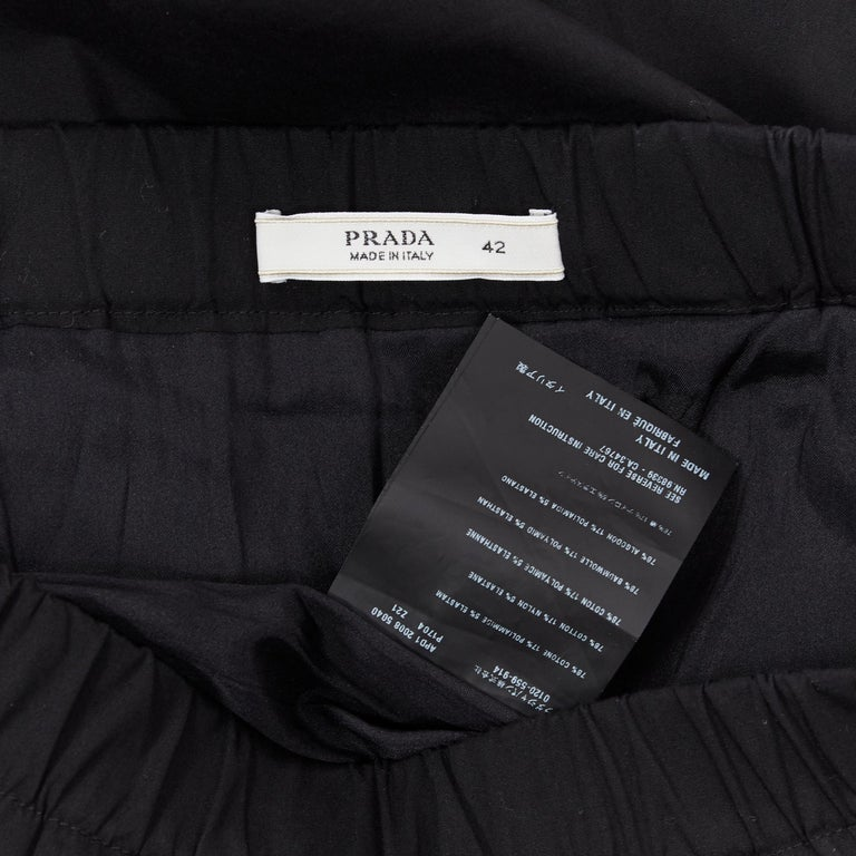 PRADA black cotton blend elasticated waist center vent casual skirt IT42 For Sale 4